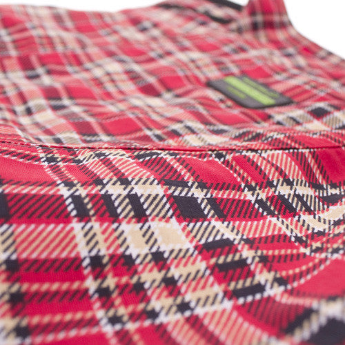 Detail of the Red Tartan Dog Raincoat by Hamish McBeth