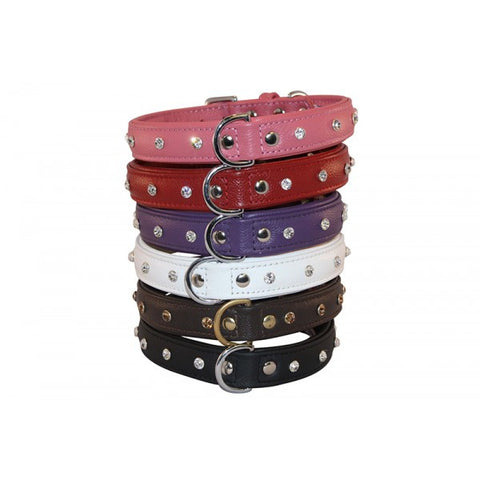 Top Seller! Leather Rhinestone Bling Dog Collar (Athens) by Angel Pet Supplies Inc.