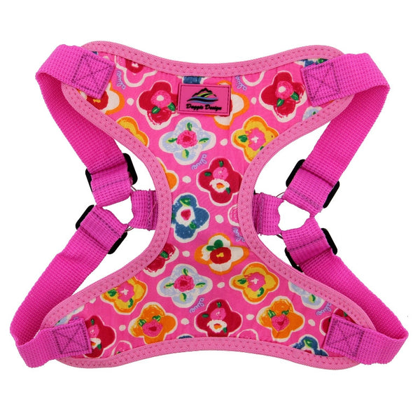 maui-pink-wrap-and-snap-choke-free-dog-harness-closeup-view