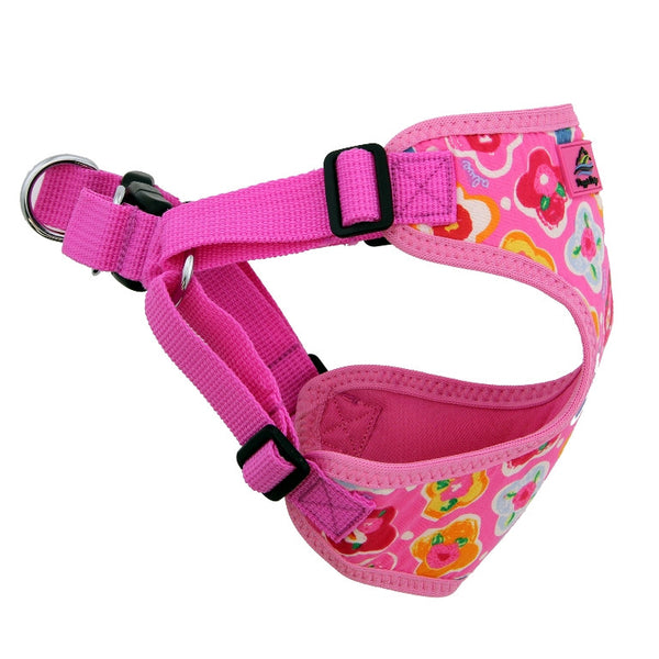 maui-pink-wrap-and-snap-choke-free-dog-harness-side-view