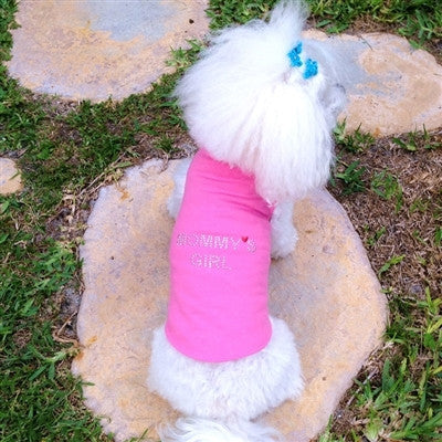 Cute little dog modelling the Mommy's Girl Tank by Daisy and Lucy