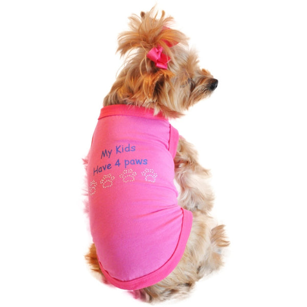 Little Yorkie rocking the My Kids Have 4 Paws Designer Dog Tank
