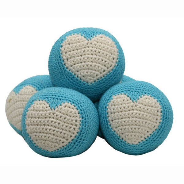 Organic Cotton Crochet Dental Dog Ball by Hip Doggie - Blue