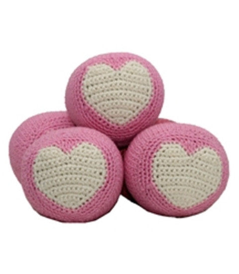 Organic Cotton Crochet Dental Dog Ball by Hip Doggie - Pink
