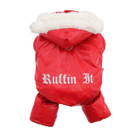 Red Ruffin It Dog Snow Suit Harness by Doggie Design