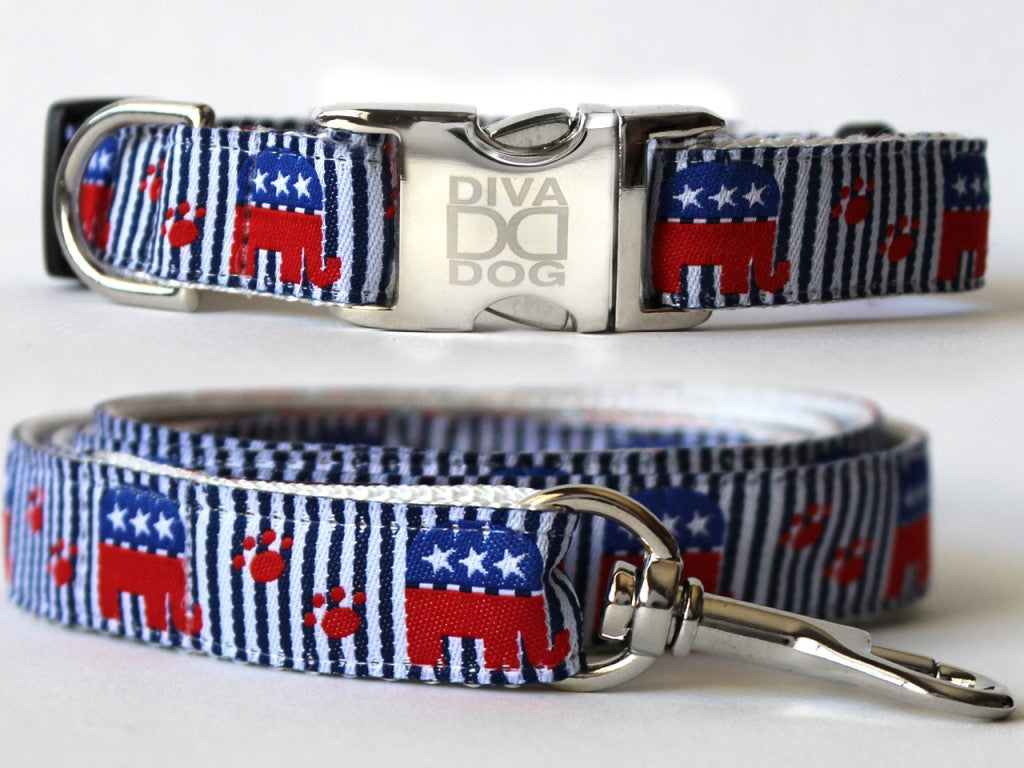 Republican Doggie Collar and Leash Set by Diva-Dog