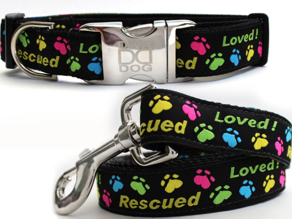 Rescue Me Dog Collar and Leash Set by Diva-Dog