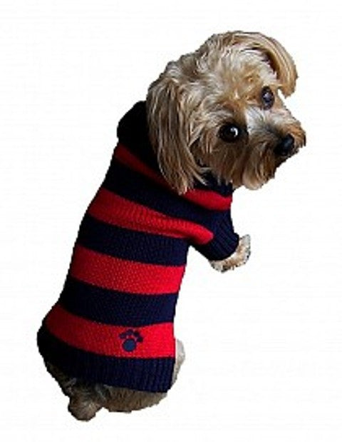Rugby Paw Sweater by Dallas Dogs-Blue/Red