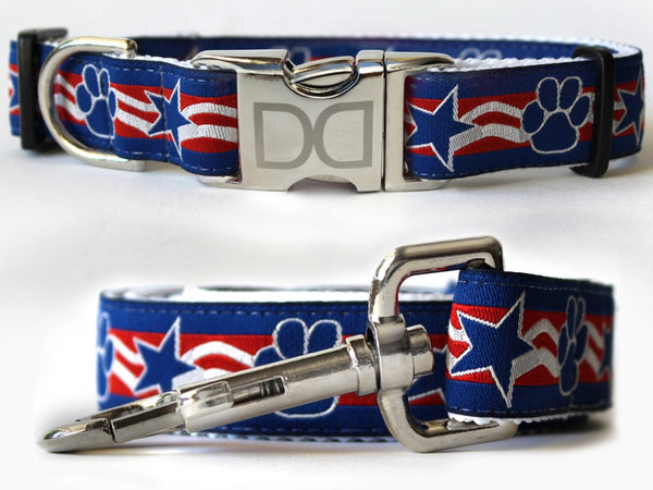 Stars and Paws Dog Collar and Leash Set by Diva-Dog