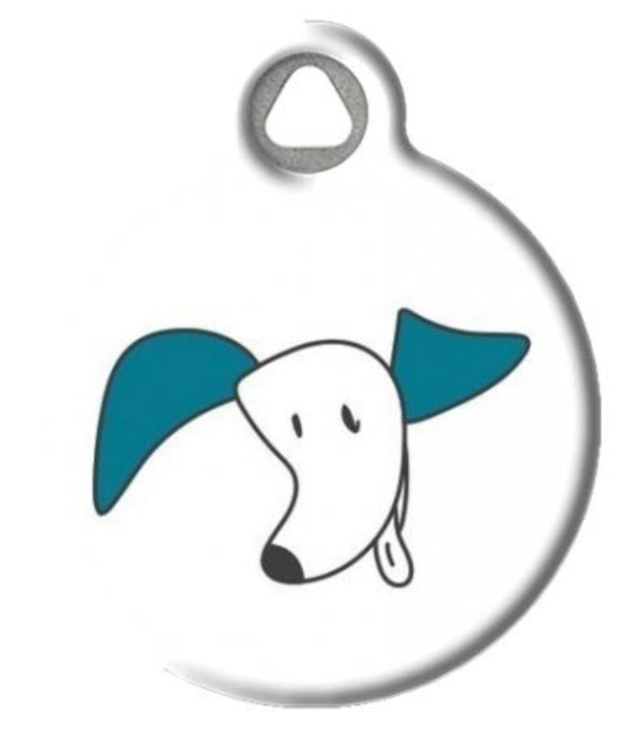 Whimsical dog ID tag featuring dog with large ears