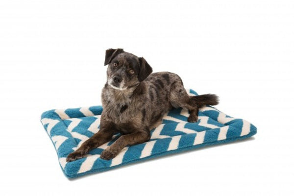 Dog lying on Blue Spruce Chevron Nature Nap Dog Bed by West Paw Design
