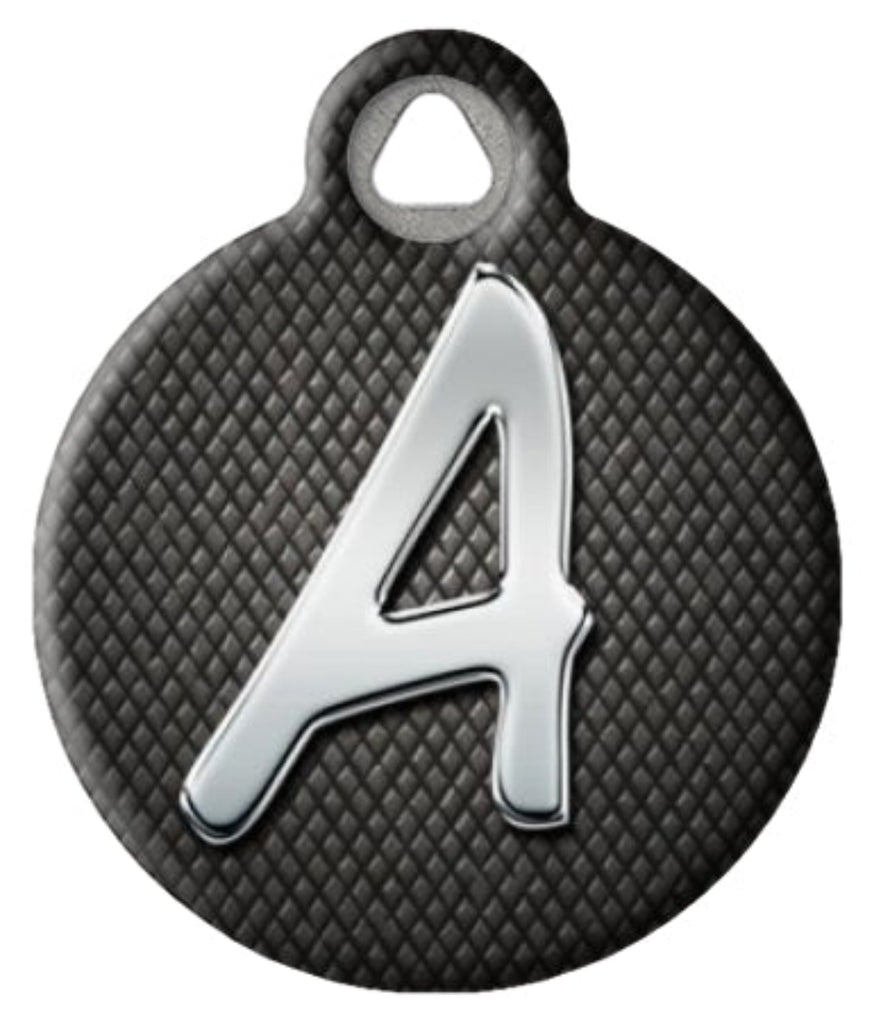 Chrome monogram pet ID tag with your choice of letter