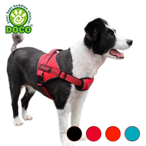 dog-wears-doco-vertex-power-harness-in-red-and-color-chart