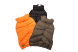 luxury-puffer-dog-coat-orange-loden-and-black
