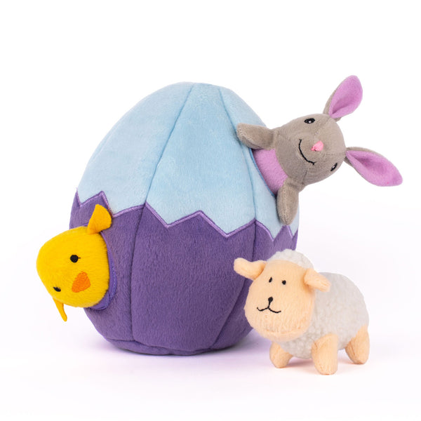 Easter egg interactive plush dog toy