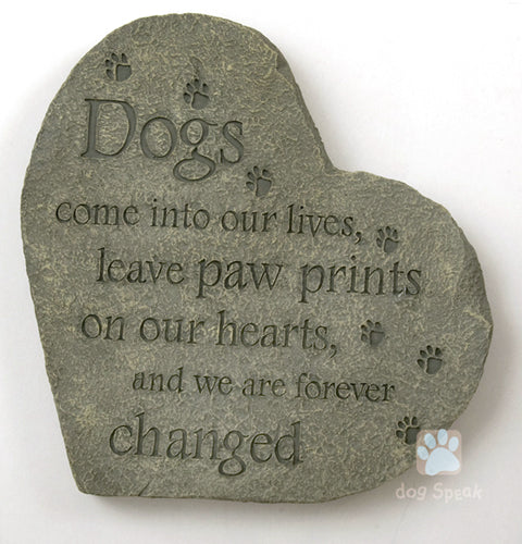 Paw Prints on our Hearts Memory Stone