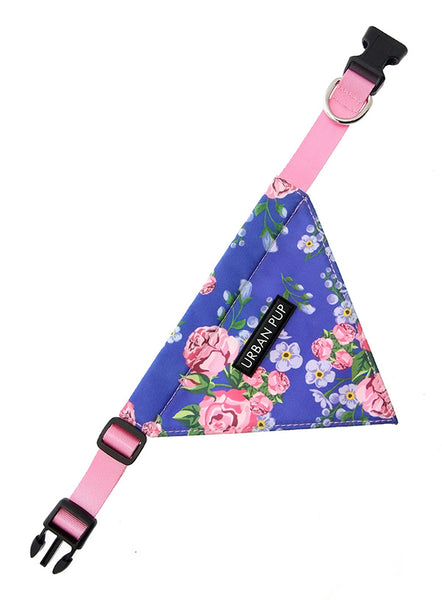 Pink and Blue Floral Burst Dog Bandana features a built-in collar