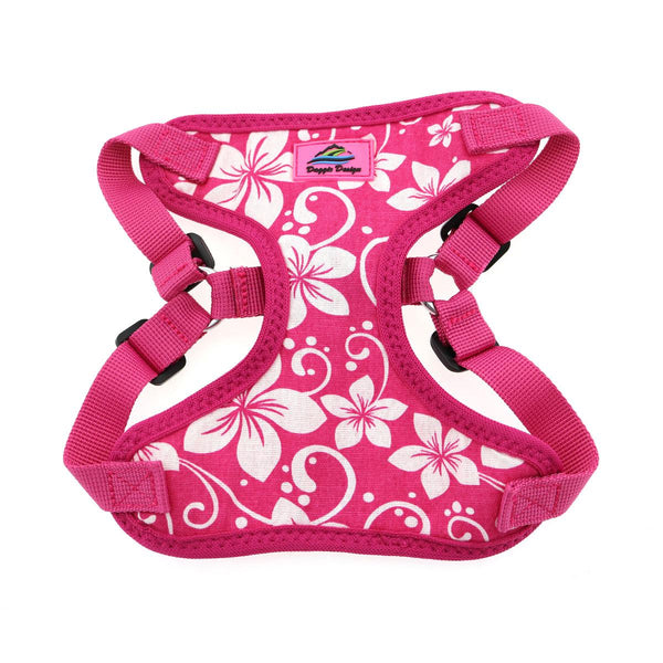 pink-hibiscus-wrap-and-snap-choke-free-dog-harness-closeup-view
