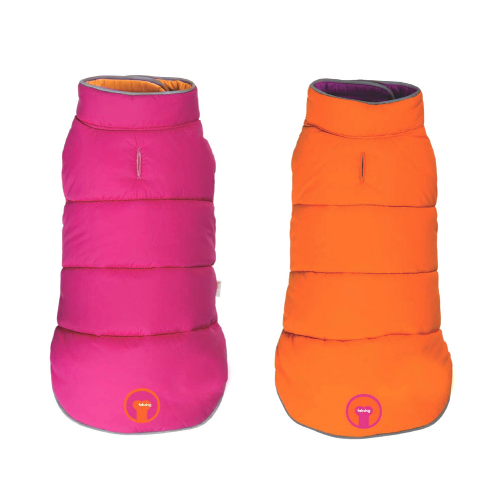 Reversible Puffer Dog Coat - Pink/Orange