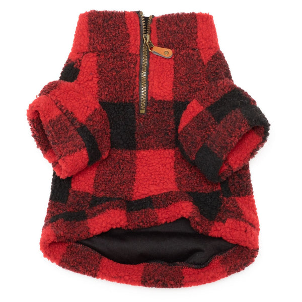 red-buffalo-sherpa-one-quarter-zip-pullover-for-dogs-underside-view