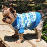 small-breed-dog-sports-the-combed-cotton-snowflake-hearts-dog-sweater-in-blue