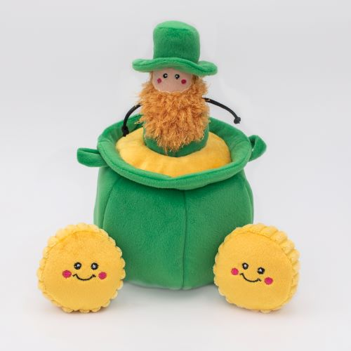 Pot of gold burrow with leprechaun and gold coins