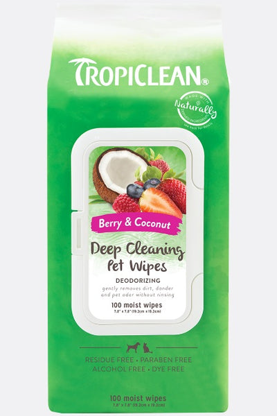 TropiClean deodorizing deep cleaning berry and coconut wipes for pets