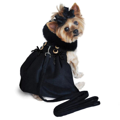 Black Wool Fur-Trimmed Dog Harness Coat