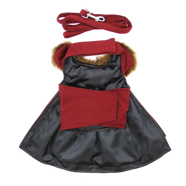 burgundy-wool-fur-trimmed-dog-harness-coat-with-leash-alternate-view
