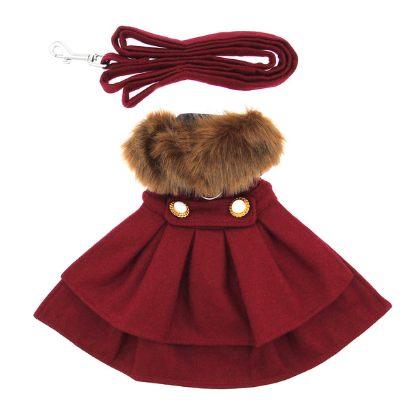 burgundy-wool-fur-trimmed-dog-harness-coat-with-matching-leash