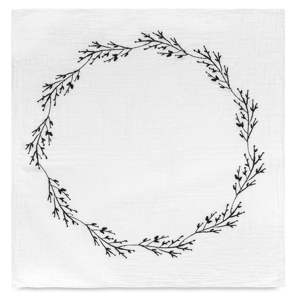Modern Burlap Branch & Berry Wreath Organic Cotton Muslin Swaddle