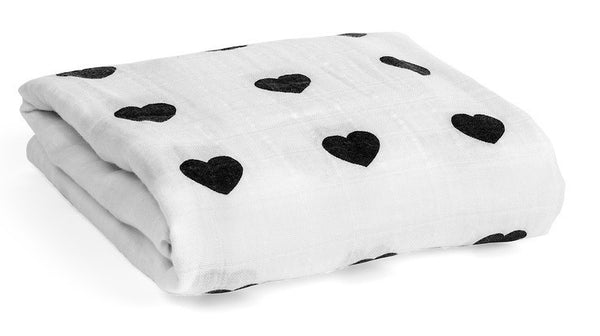 Modern Burlap Heart Organic Cotton Muslin Swaddle