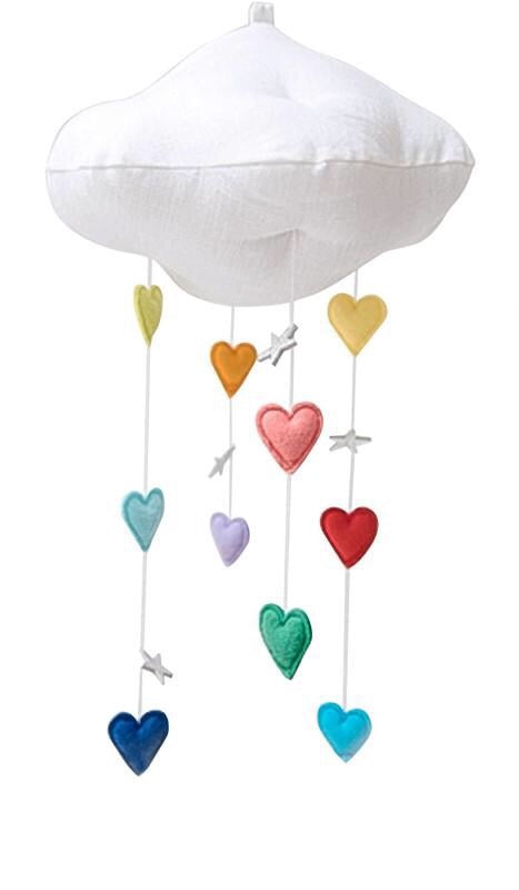 Baby Jives Luxe Cascading Bright Rainbow Heart Cloud + Silver Stars Mobile
