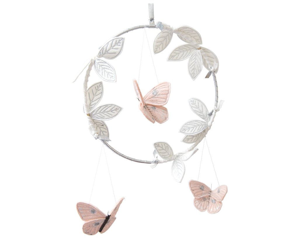 Baby Jives Luxe Butterfly Blush + Silver + White Mobile