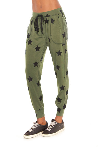 Terez Army Green Stars Foil French Terry Joggers