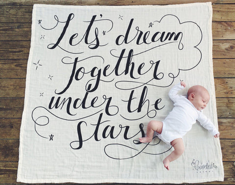 Coveted Things 'Lets Dream Together' Organic Swaddle Blanket