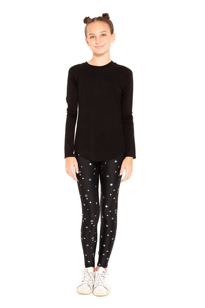 Terez Foil Silver Stars Leggings Girls