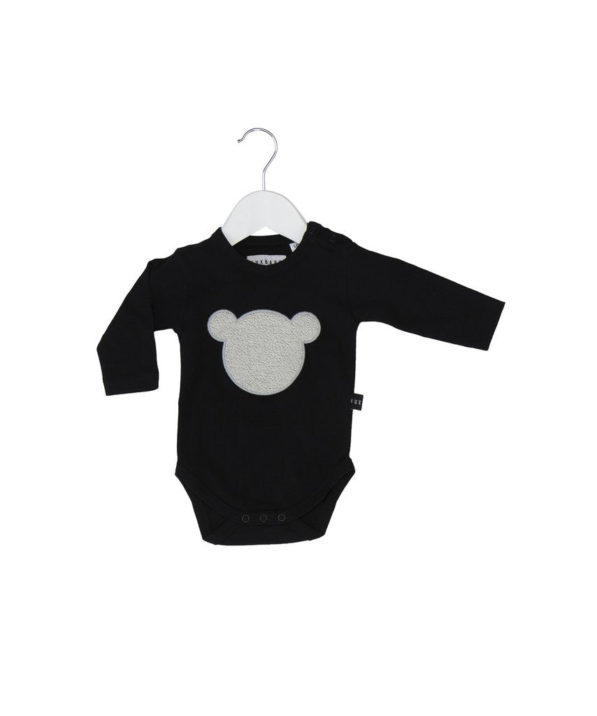 Huxbaby Shadow Bear Applique Onesie