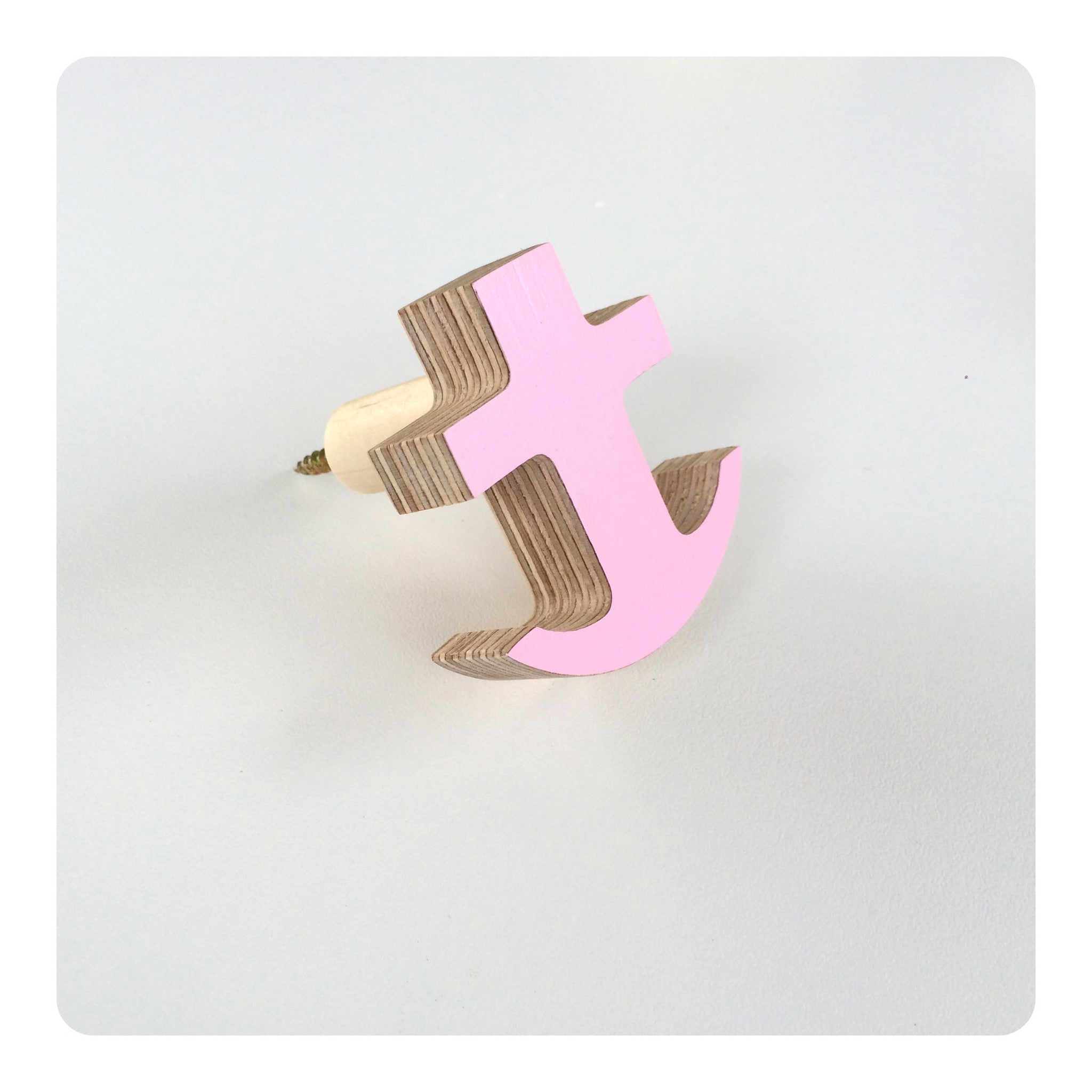 The Hook Co. Flamingo Pink Little Anchor Wall Hook