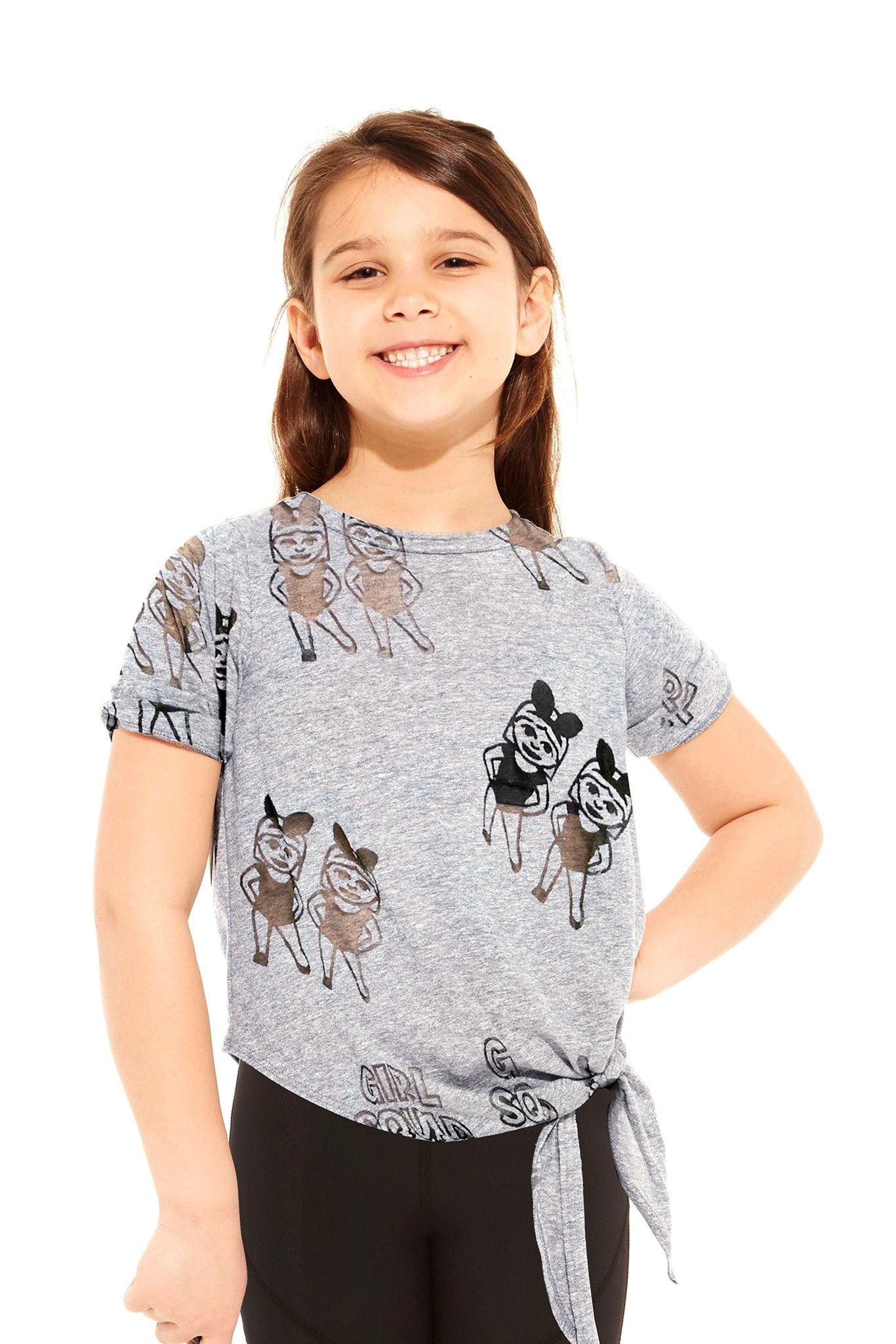 Terez Heather Girl Squad Tie Front Tee Kids