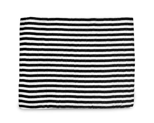 Modern Burlap Stripes Organic Cotton Muslin Swaddle