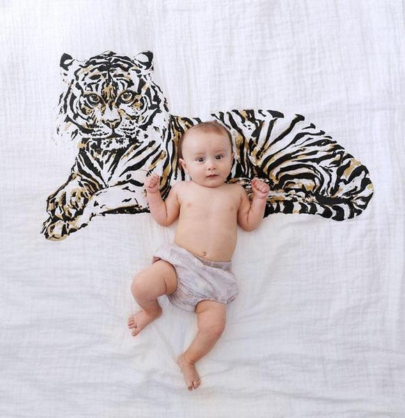 Baby Jives Tiger Organic Cotton Swaddle Blanket