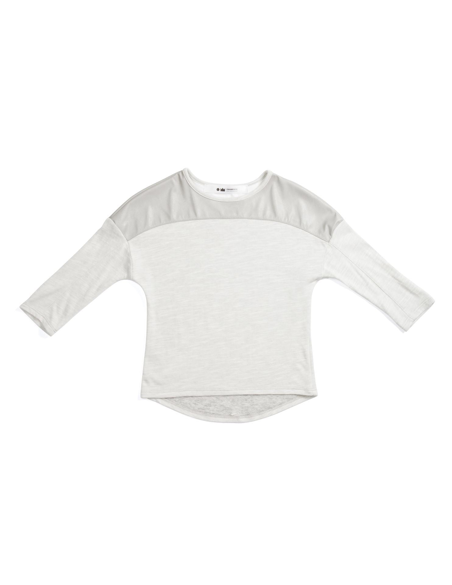 OMAMImini Grey and Cream Top with Faux Leather Detail
