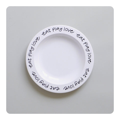 Buddy + Bear Eat Play Love Plastic Plate