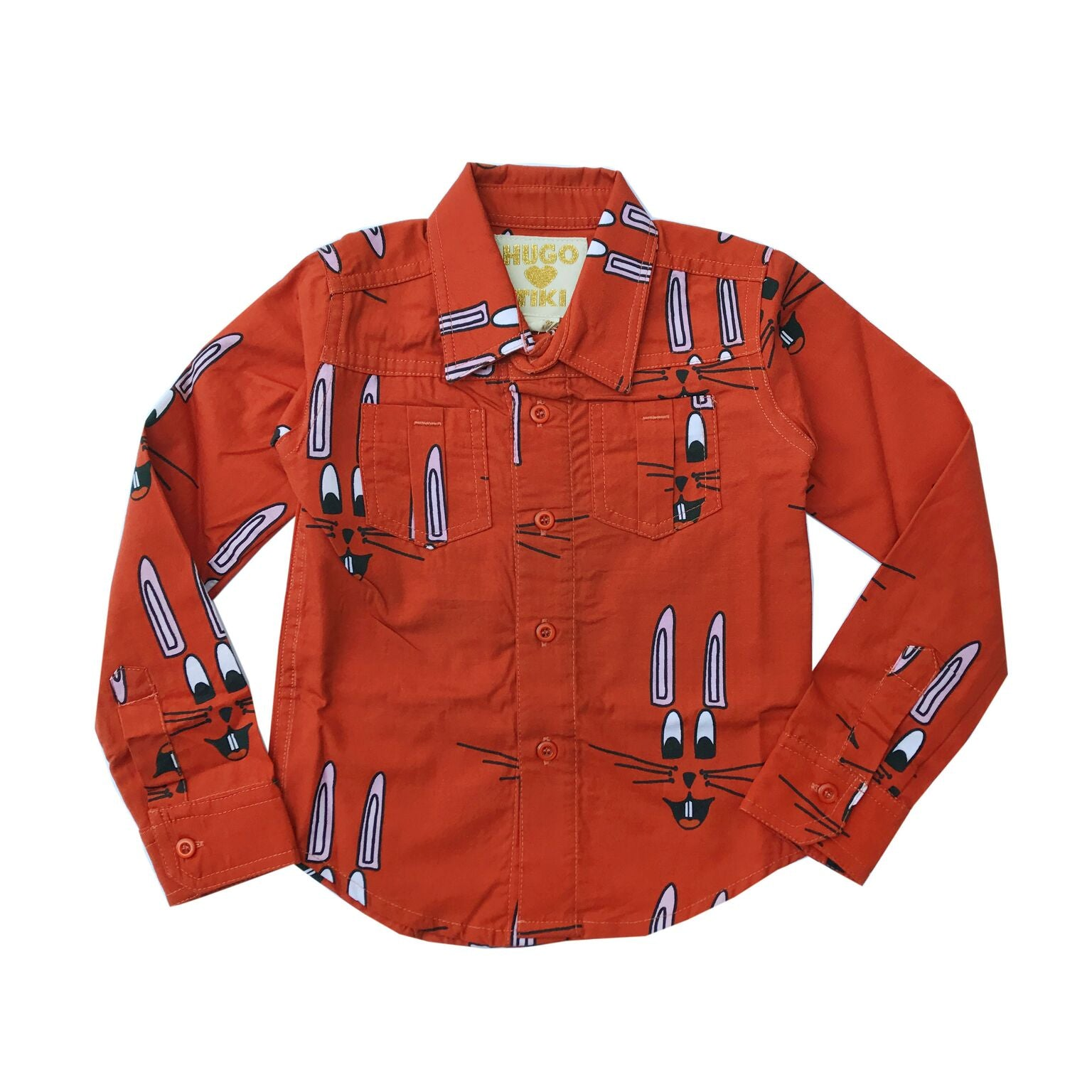 Hugo Loves Tiki Red Bunny Collard Blouse