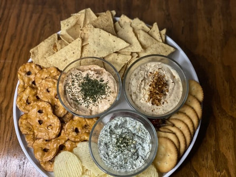Tasty and spicy smoky bacon crispy dip served in the plate for parties and gameday