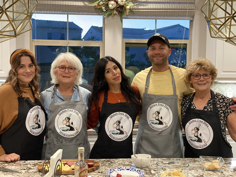 Family wearing apron