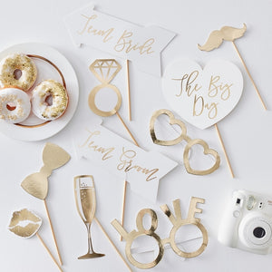 Guld Photo Booth Props Team Bride 10 stk.