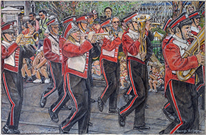 Lutheran West High School Marching Band - Colored Pencil Artwork by George Hoffman