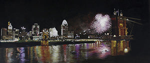The Reds Light Up Cincinnati - Colored Pencil Artwork by Donna Schwarz